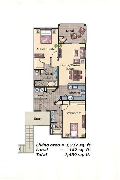 Floor Plan for Halii Kai 2D (2/2)